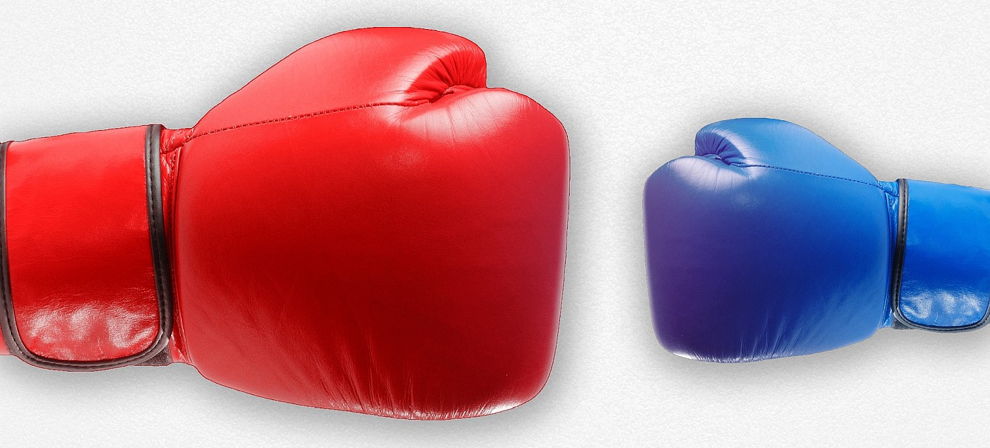 A large red boxing glove, and a small blue one