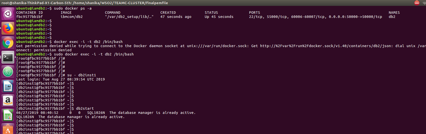 Configure Database DB2 with Docker and use DB2 as the DB