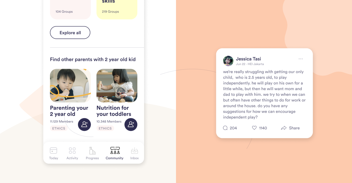 """Section of digital platform displaying option to """"Find other parents with 2 year old kids"""" and related topics, and a community entry on their struggles on teaching their 2.5 year old child"""