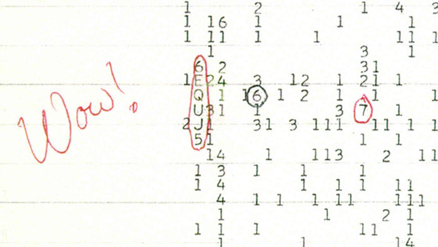 Ehman's Wow! signal, 6EQUJ5, circled in red in a printout of vertically aligned single digits indicating radiowaves.
