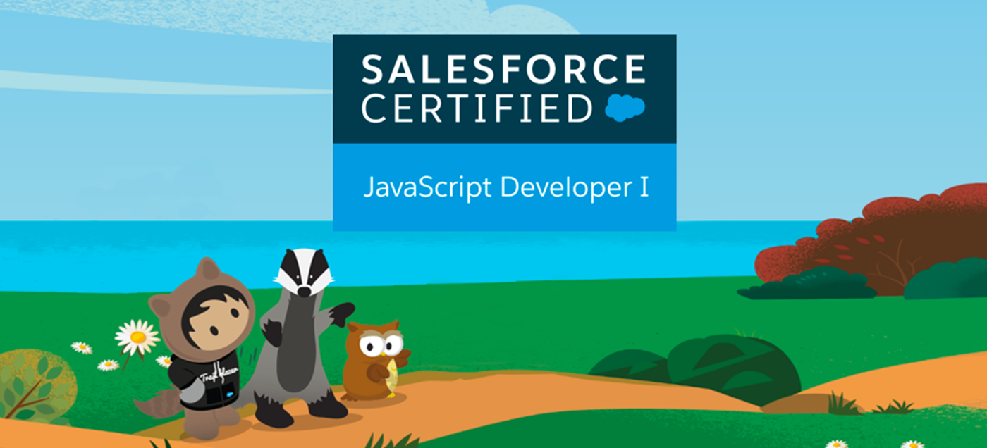 Trailhead characters Astro, Earnie, and Hootie outdoors looking at the Salesforce Certified JavaScript Developer I logo.