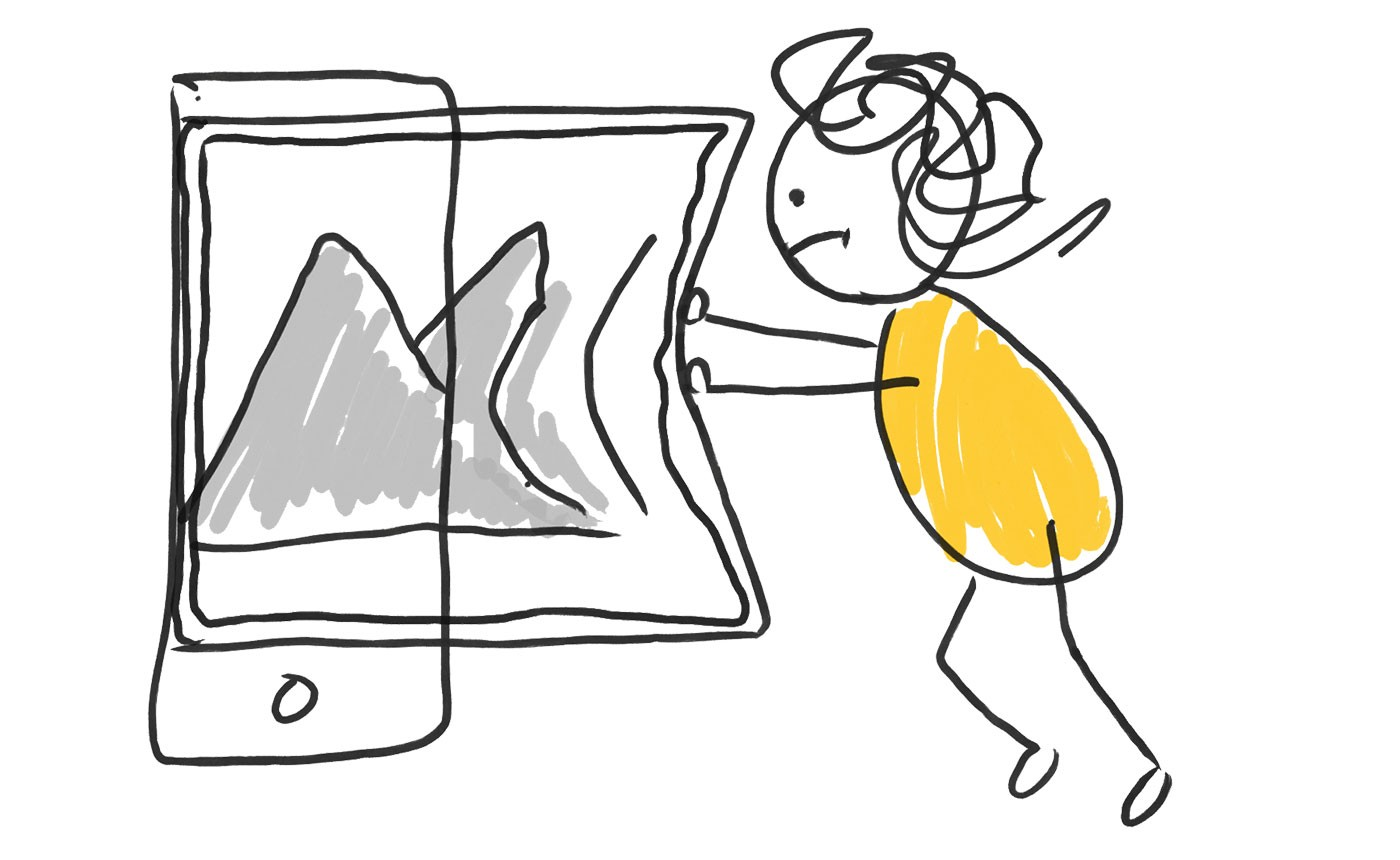 Hand-drawn illustration of person trying to squeeze an oversized image into a iphone