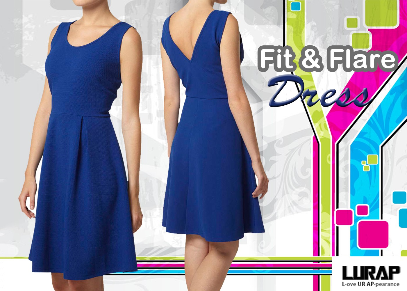 Be The Showstopper In A Blue Petite Fit And Flare Dresses By Lurap Fashion Medium