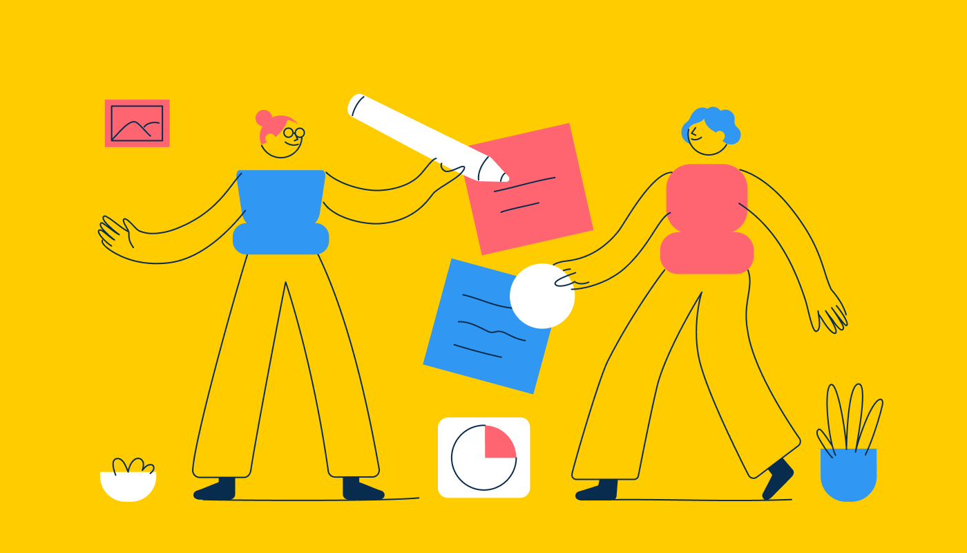 Abstract illustration of two figures holding pencils and sticky notes on a yellow background.