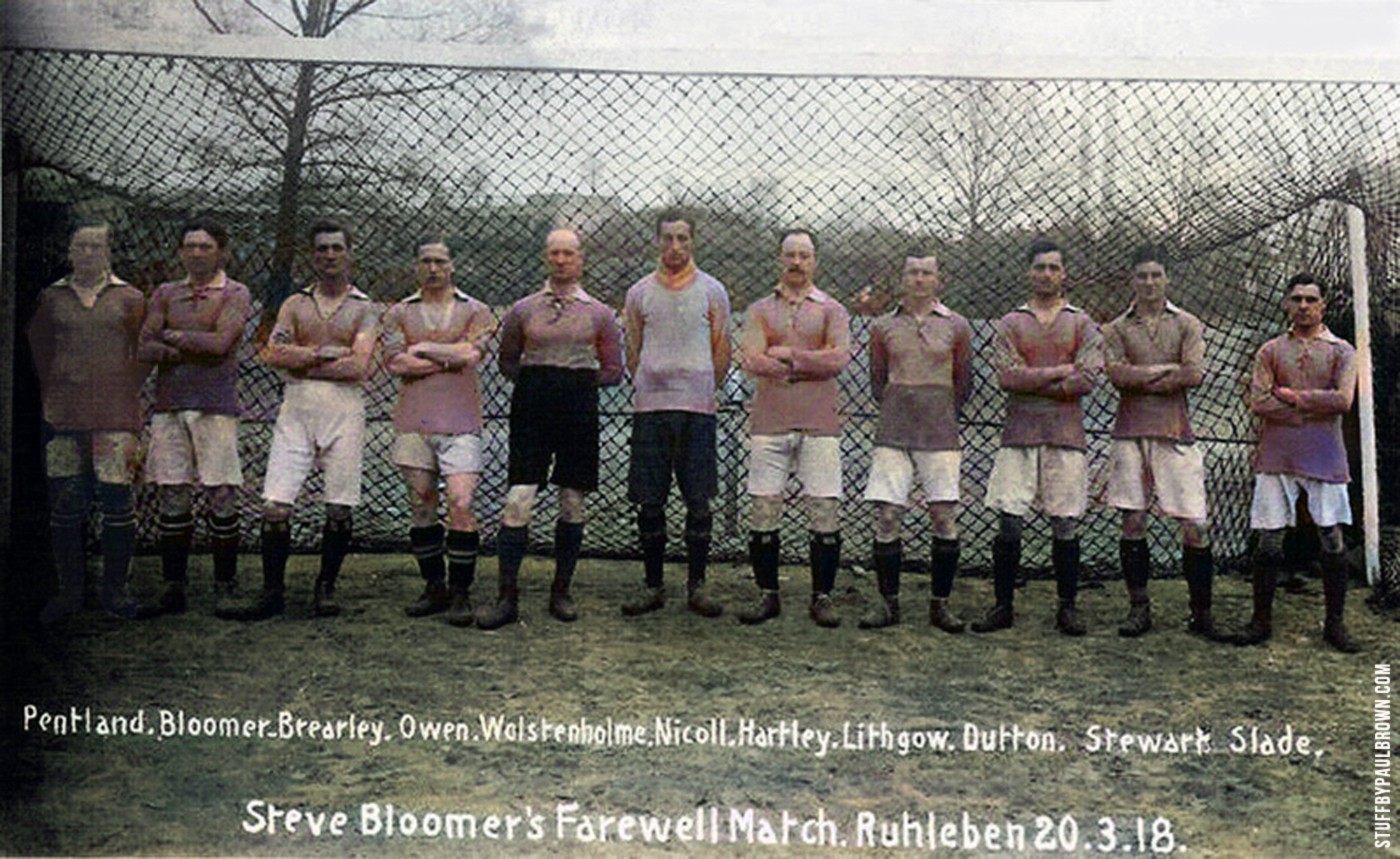 Steve Bloomer's Farewell Match, Ruhleben, 1918, postcard / Paul Brown