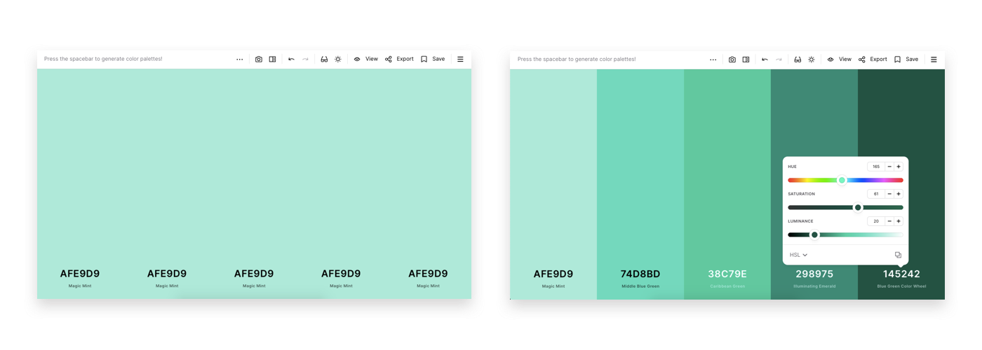 Using Coolors, I created tint stacks with 15% increments. I started with a 5-color palette with only #AFE9D9 as base.