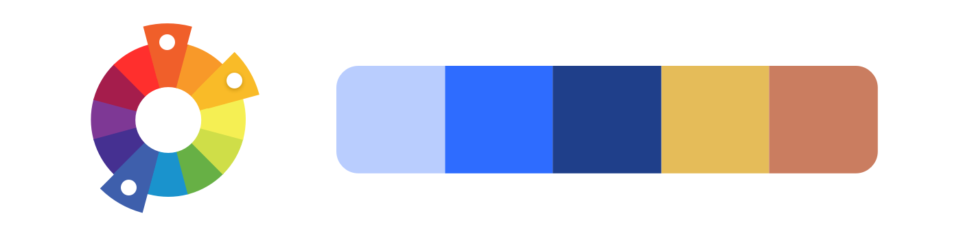 Split-complementary example: a color palette created from denim blue, red-orange, and yellow-orange.