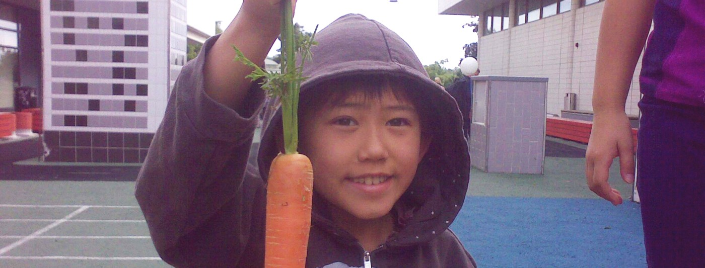 A little boy holding up a carrot