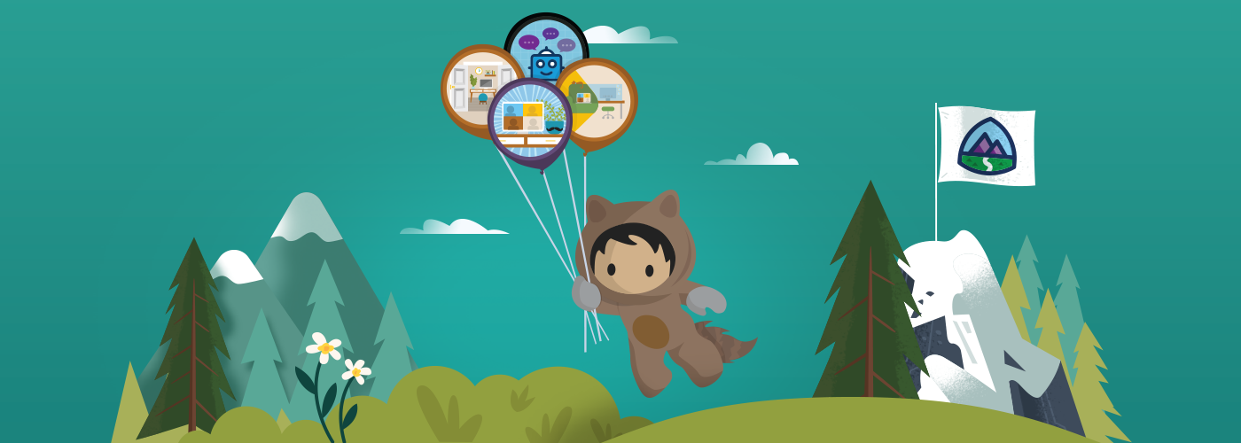 Trailhead character Astro floating with badge themed balloons over a forest landscape.