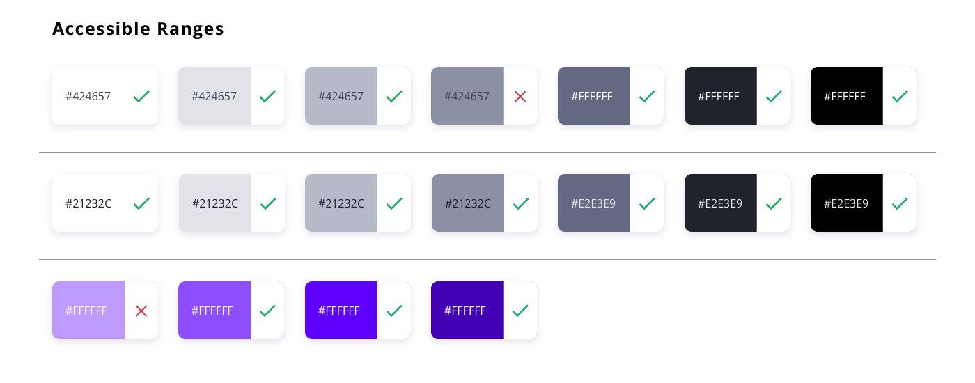 I explored accessible pairs based on the tint stack created before, focusing on neutrals and the primary purple.
