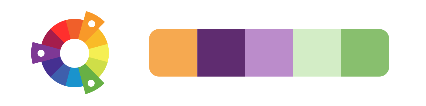 Triadic example: a color palette created from purple, orange, and green.