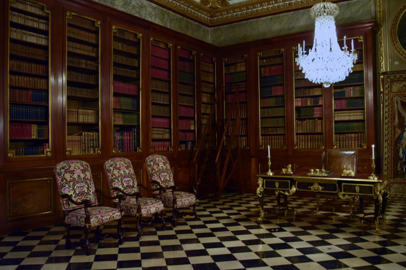 The library in the Château de Vaux-le-Vicomte, complete with a black-and-white checkered floor.