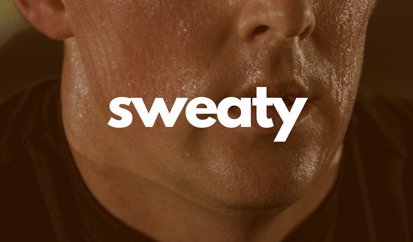 Sweaty header: Lower half of a man's face covered with sweat