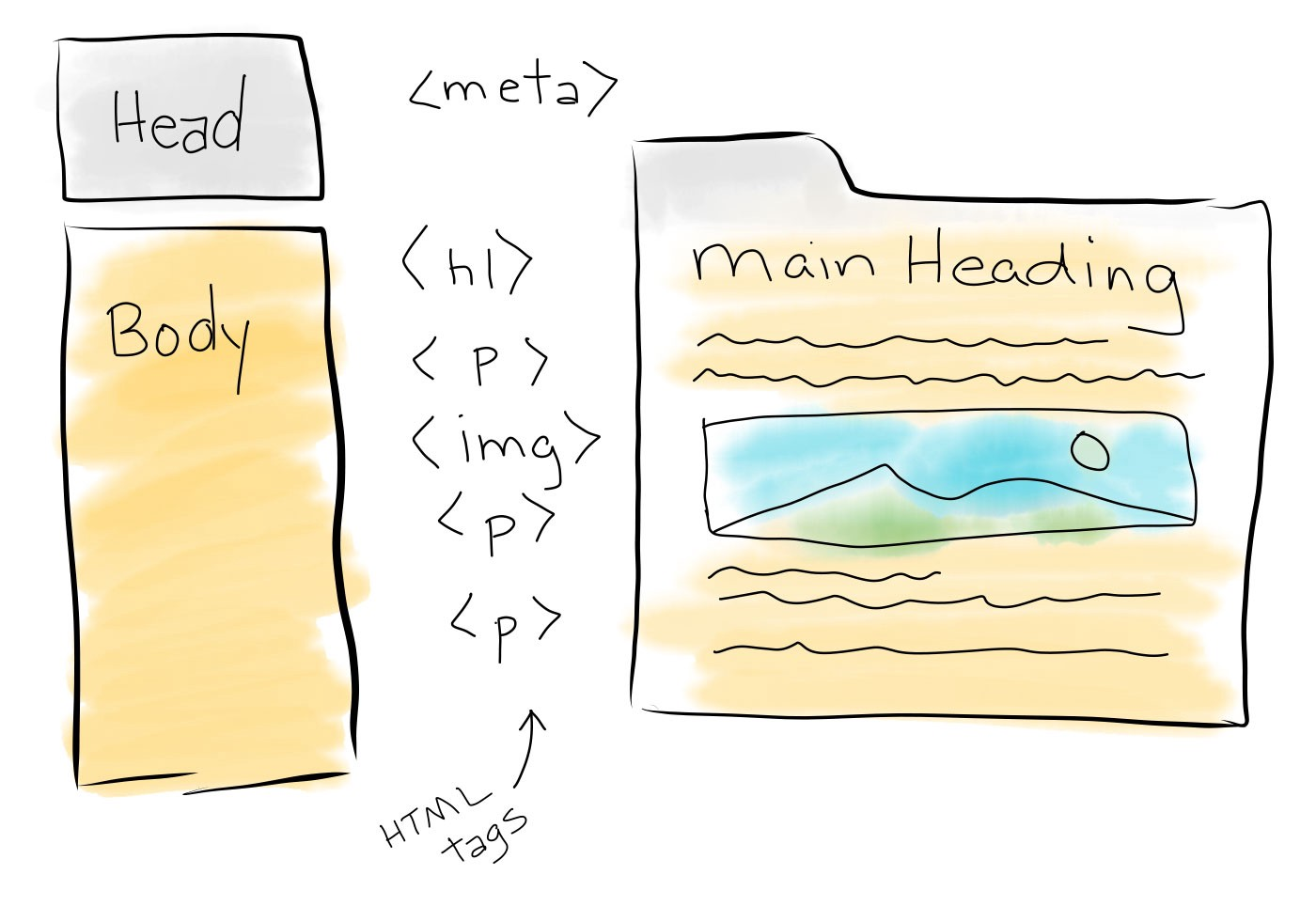 Hand-drawn illustration of the head and body, some html tags and a typical browser page