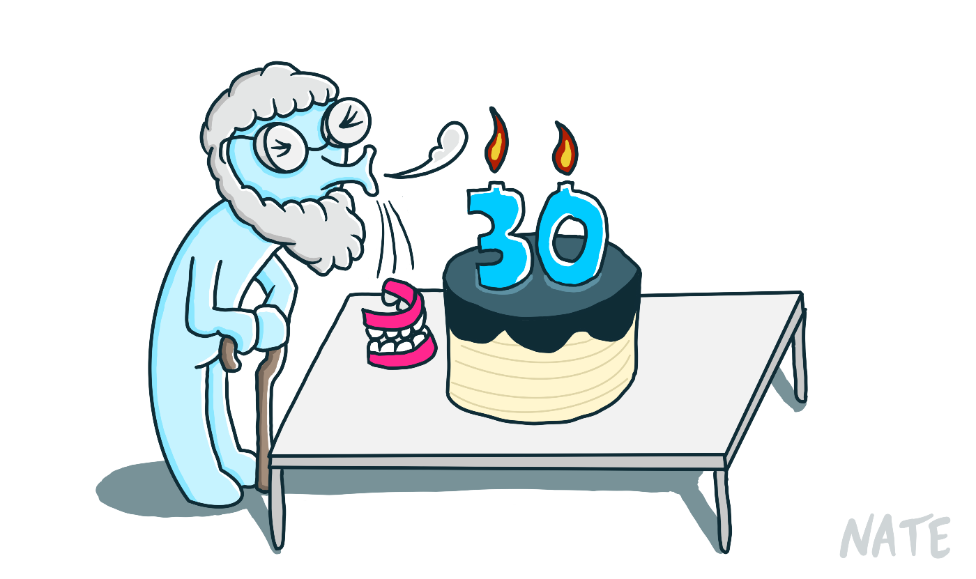 Old man blowing out a cake with 30 candles; his dentures fell out.