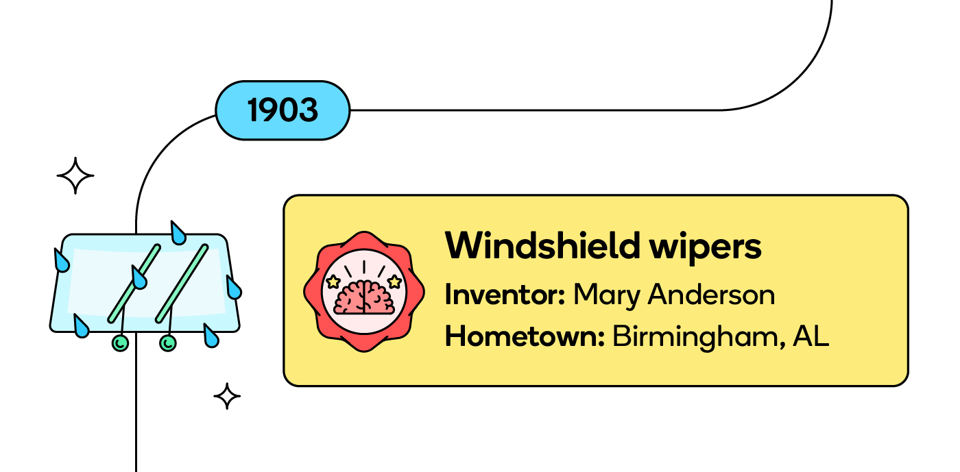Mary Anderson of Birmingham, AL invented windshield wipers