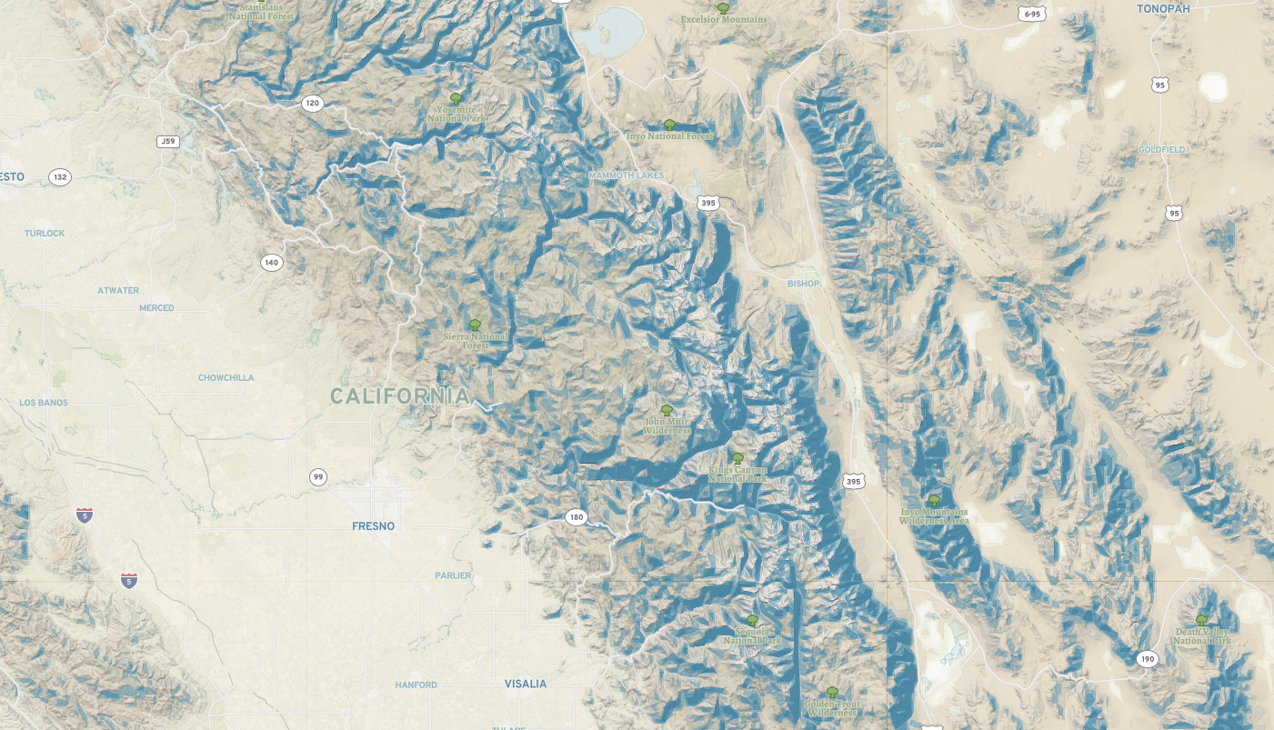 View from the sky - Points of interest California Points Of Interest Map on