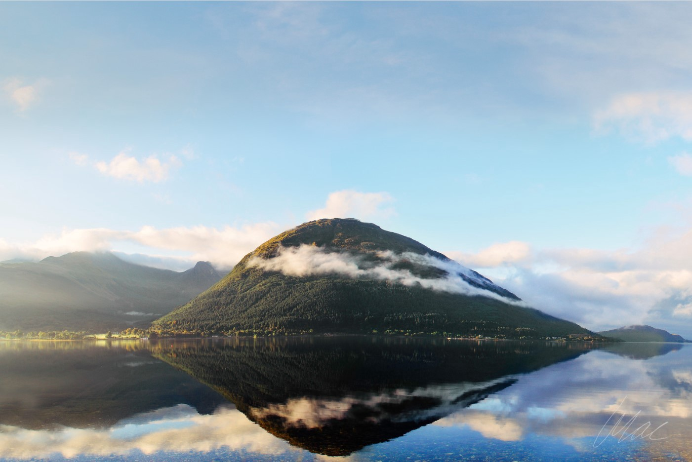 Mountain reflections at Loch Onich, Scotland