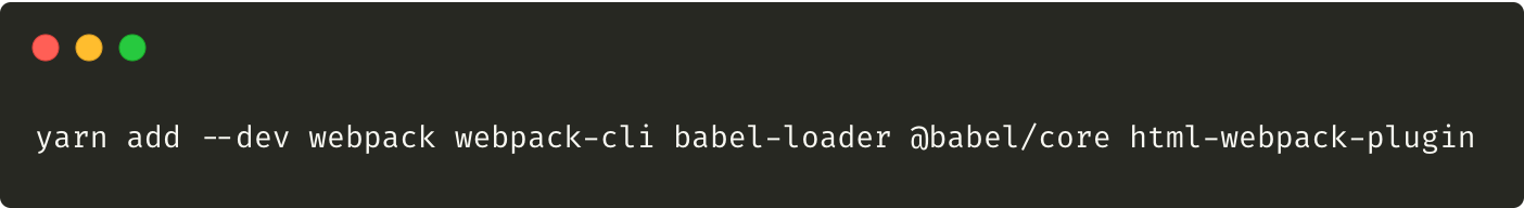 Command adding webpack, babel and html-webpack-plugin to the project.