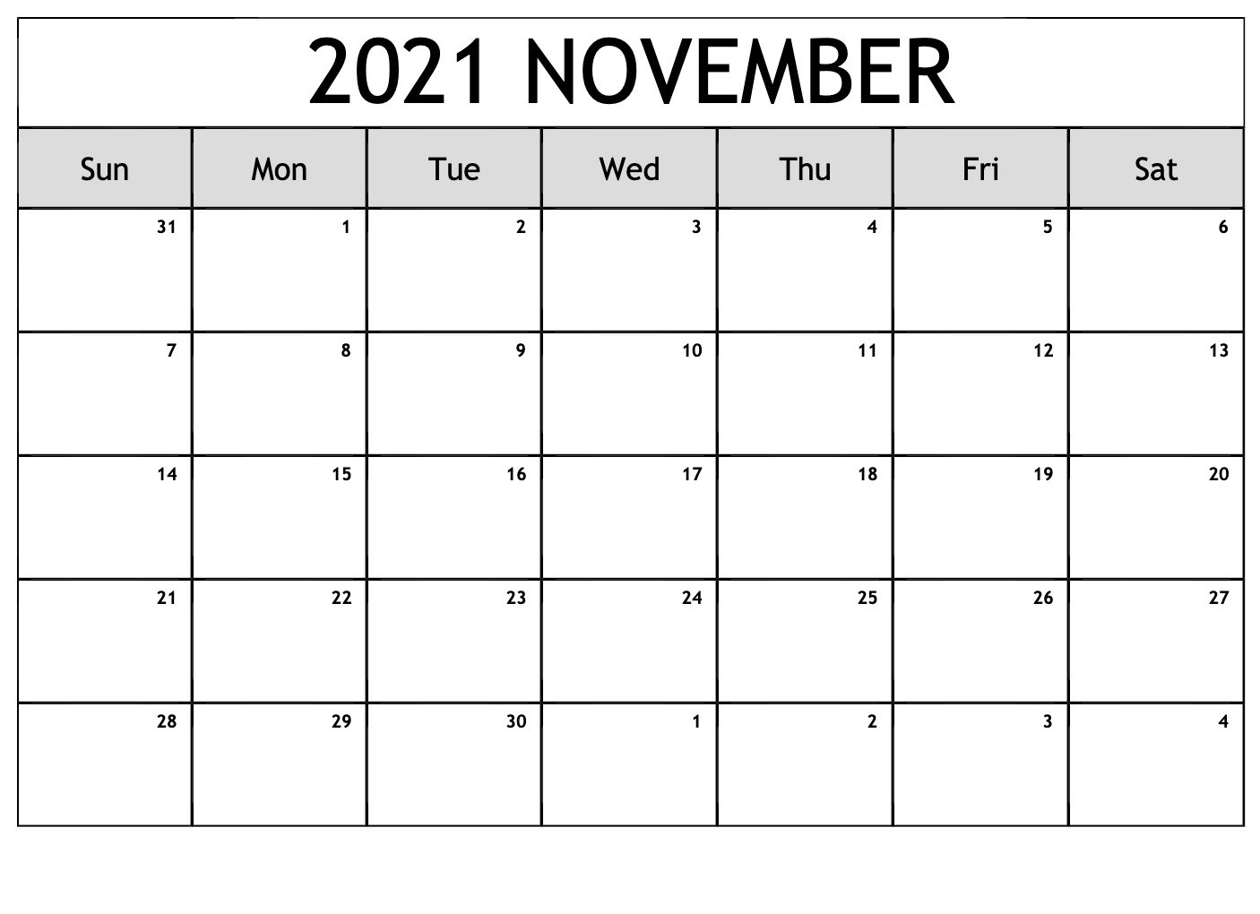 November 2021 Calendar With Thanksgiving Holiday Free PDF | by