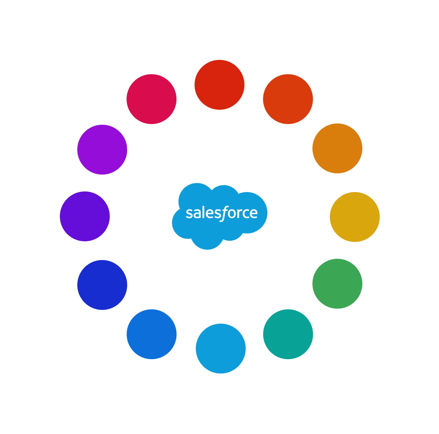 The Salesforce logo surrounded by 12 color hues