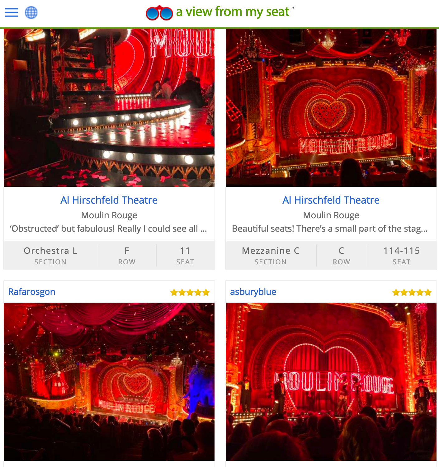 Screenshot from A View From My Seat shows viewing angles at Moulin Rouge as photographed from different seats in the theater.