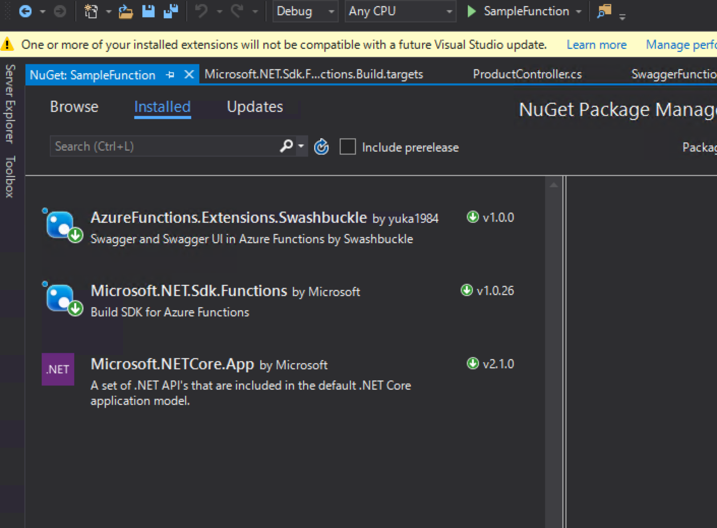 Open API(Swagger) and Swagger UI on Azure Functions v2(C#)
