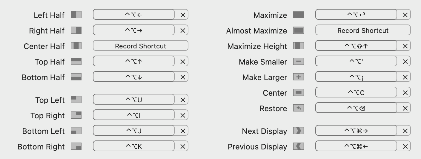 Keyboard shortcuts for Rectangle