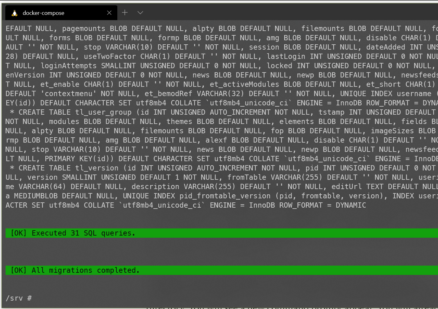 Screenshot showing the completion of the contao:migrate command