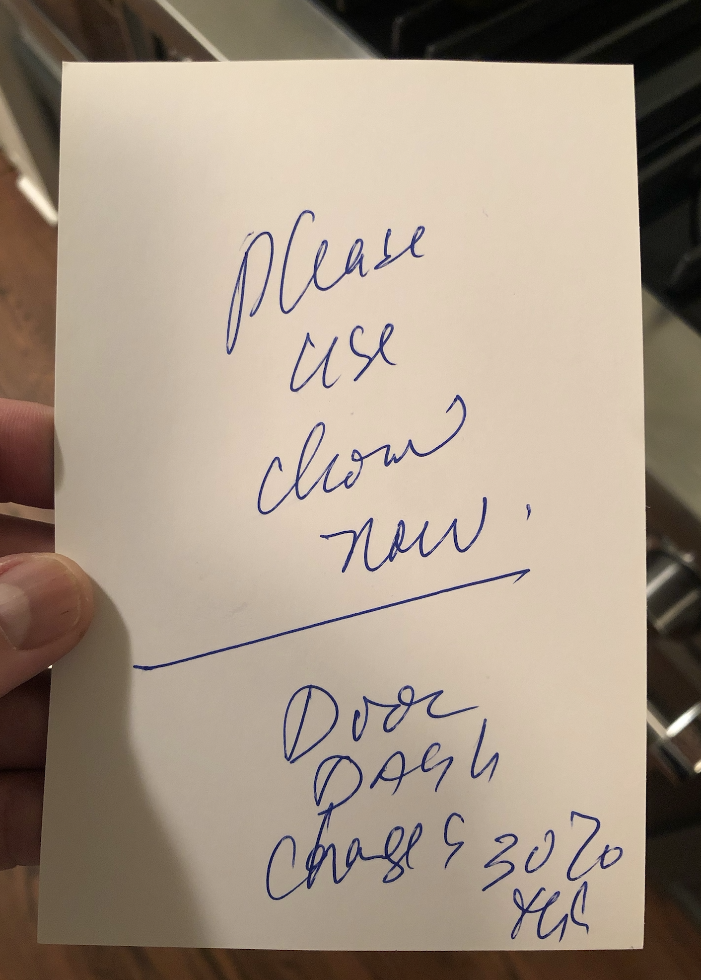 A handwritten note from the owner of New Delhi Palace in Pasadena, California urging his customers to use ChowNow (2020)