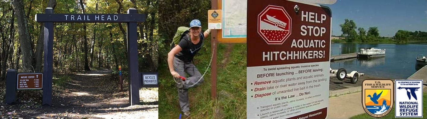 3 photos: From left, trail with signs, hiker cleaning off shoe, sign with Stop Aquatic Hitchhikers! as title