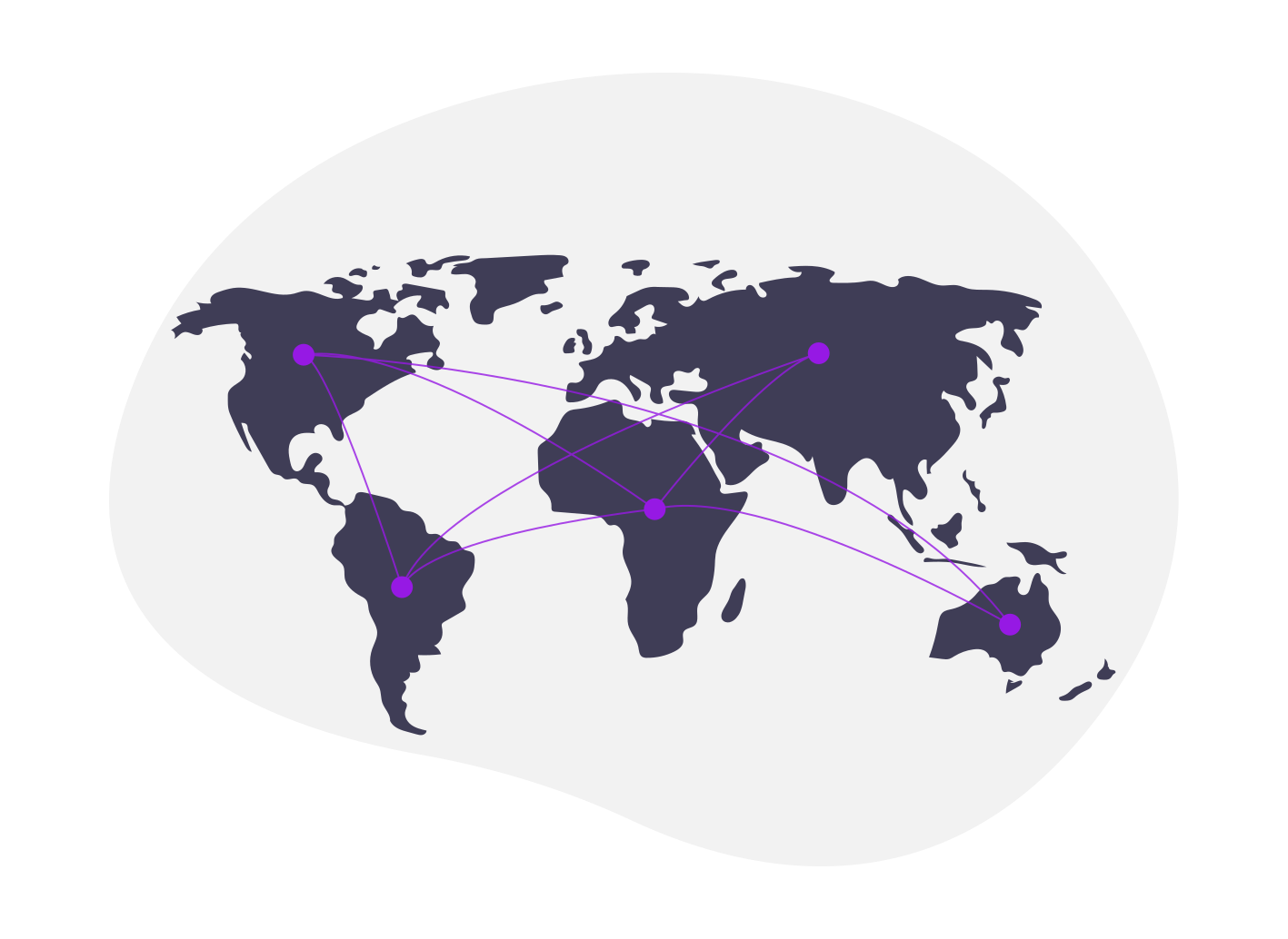 Illustration of a world map with connected dots.