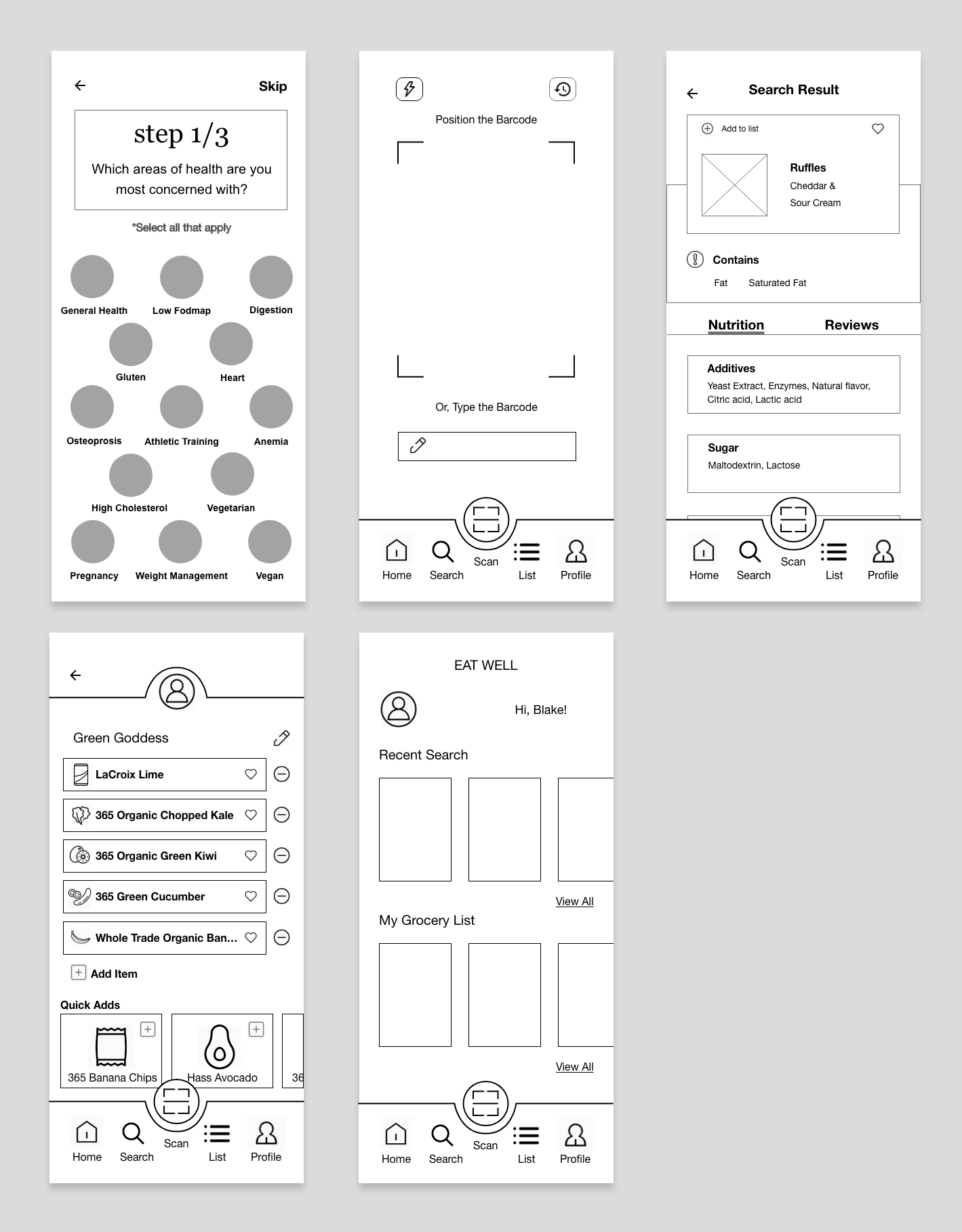 Eat Well Wireframes
