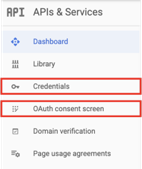 The options you need to access in the Google Developers Menu are OAuth consent screen and Credentials