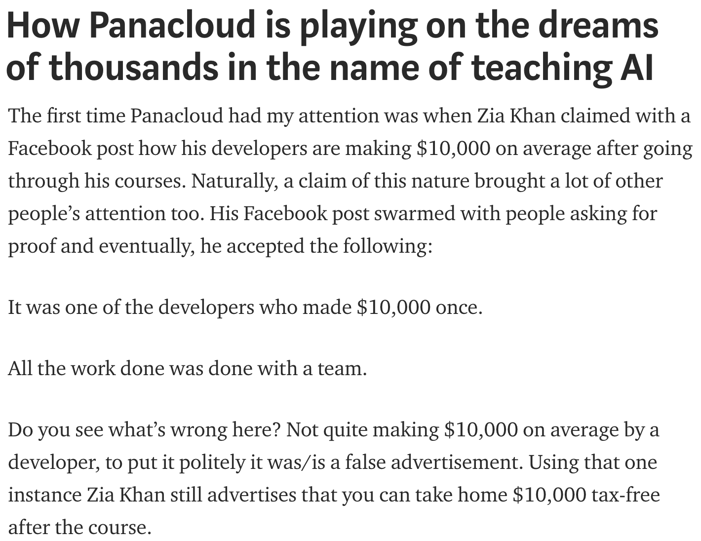 """Rebuttal of """"How Panacloud is playing on the dreams of"""