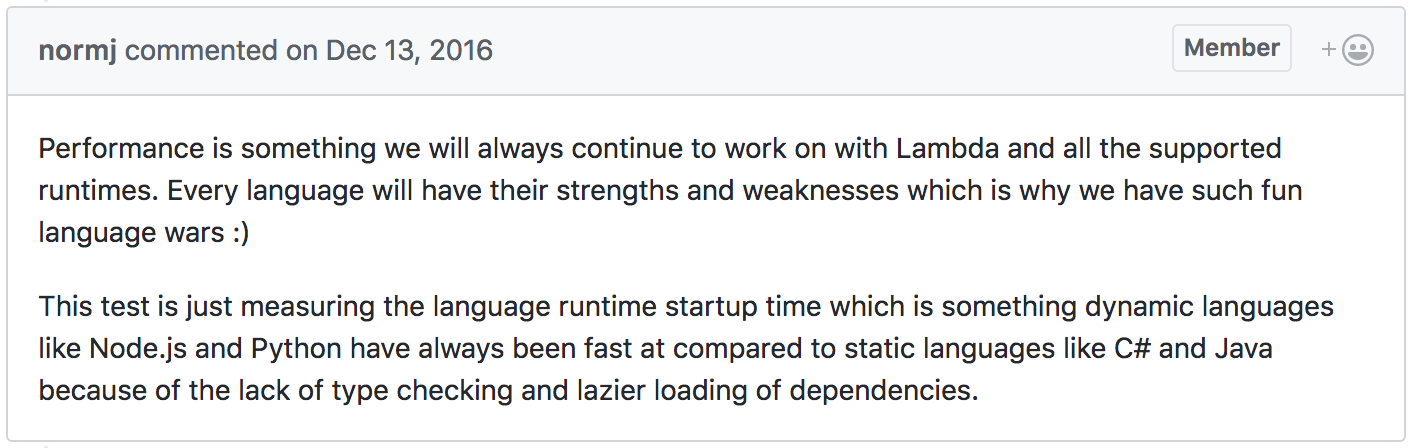 Comparing AWS Lambda performance of Node js, Python, Java