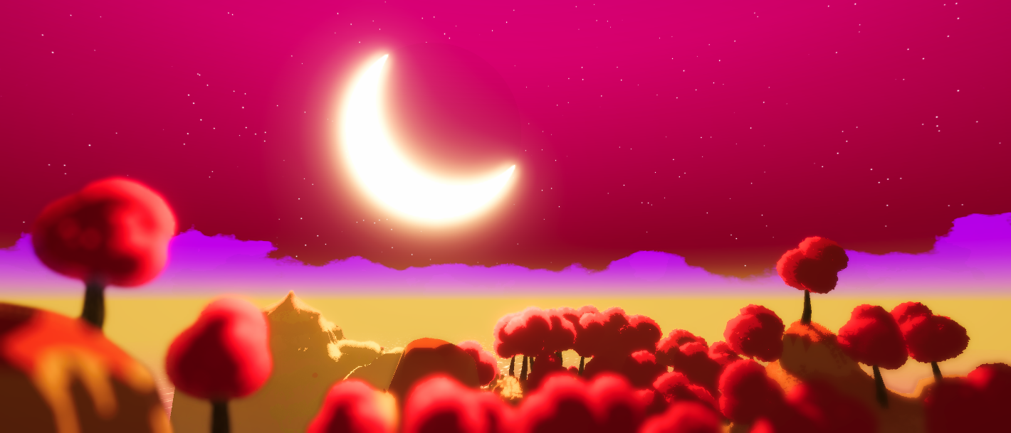 an in-game screenshot of a landscape, with big parts of the image being covered by the sky