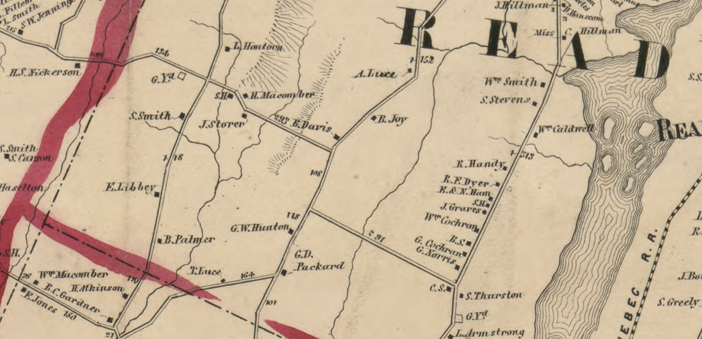 A detail from an 1856 map of Kennebec County, Maine, showing where the Macombers lived in Readfield.