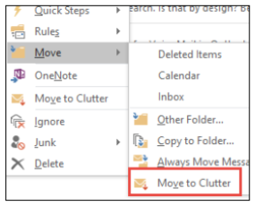 Microsoft Outlook move to clutter