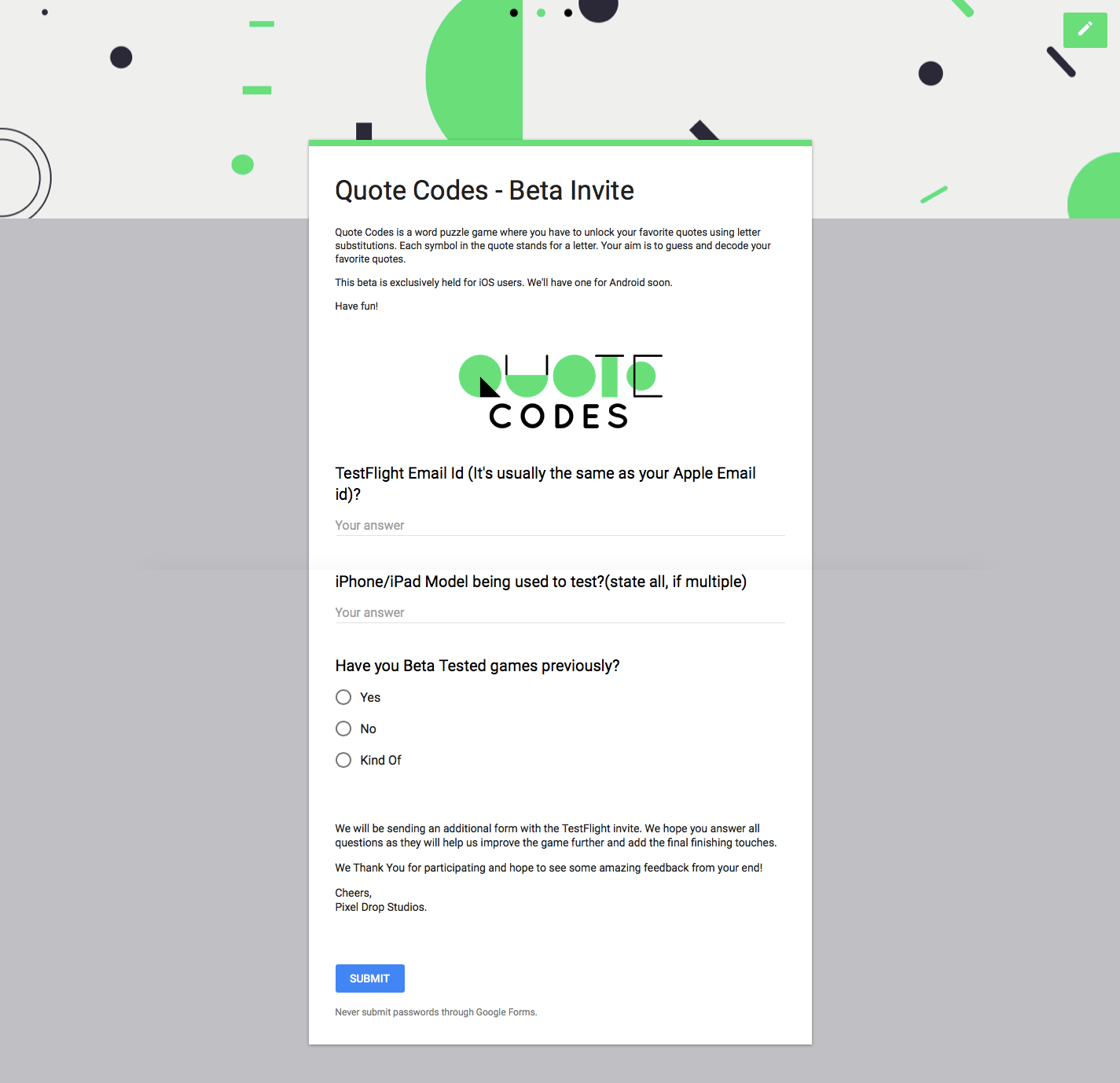 How to get BETA Testers For A Mobile Game - Pixel Drop