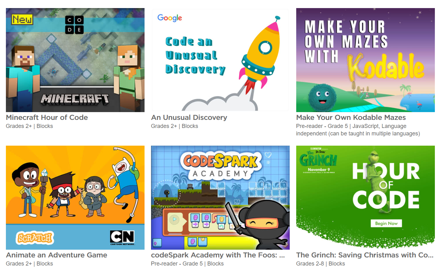 140 new Hour of Code tutorials including a new Minecraft