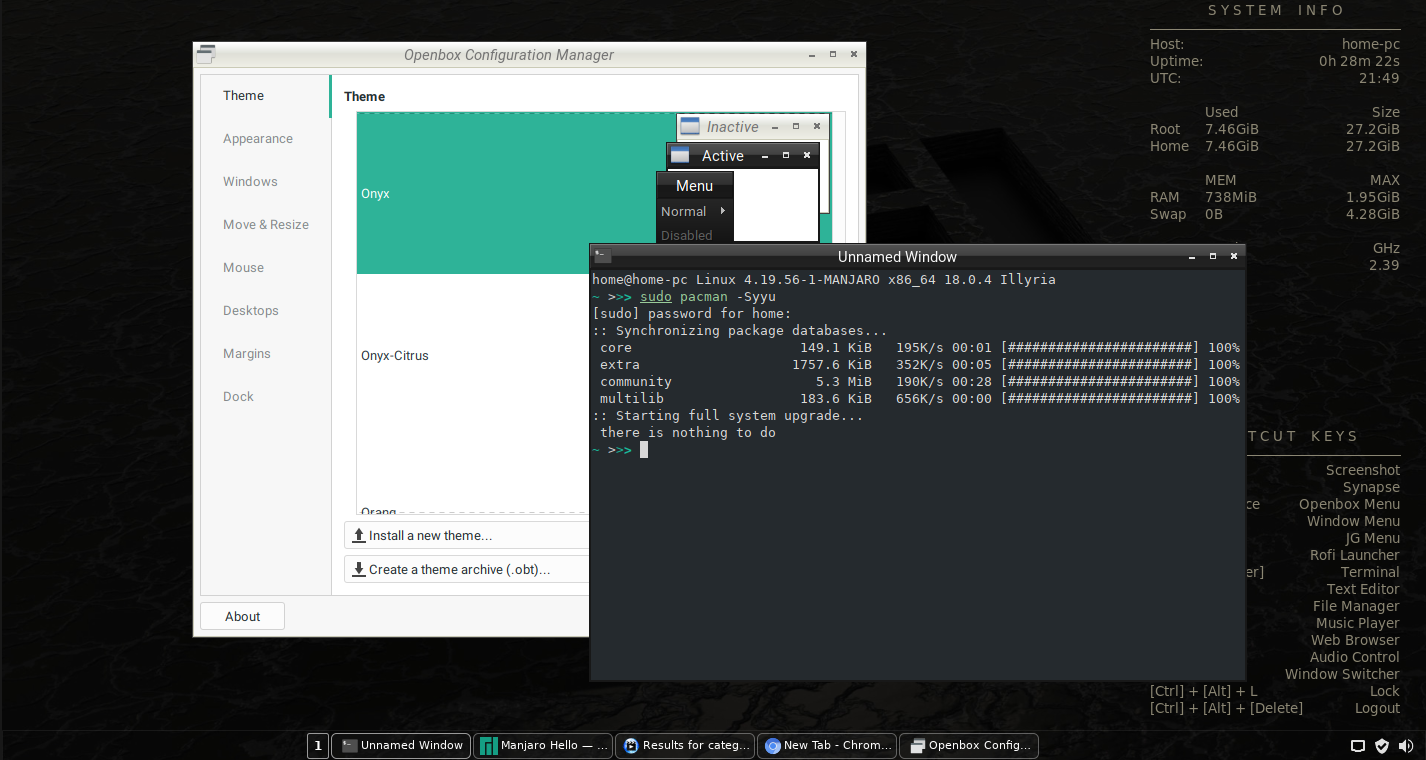 """Review of Manjaro Openbox (Linux) 18 0 4 """"Illyria"""