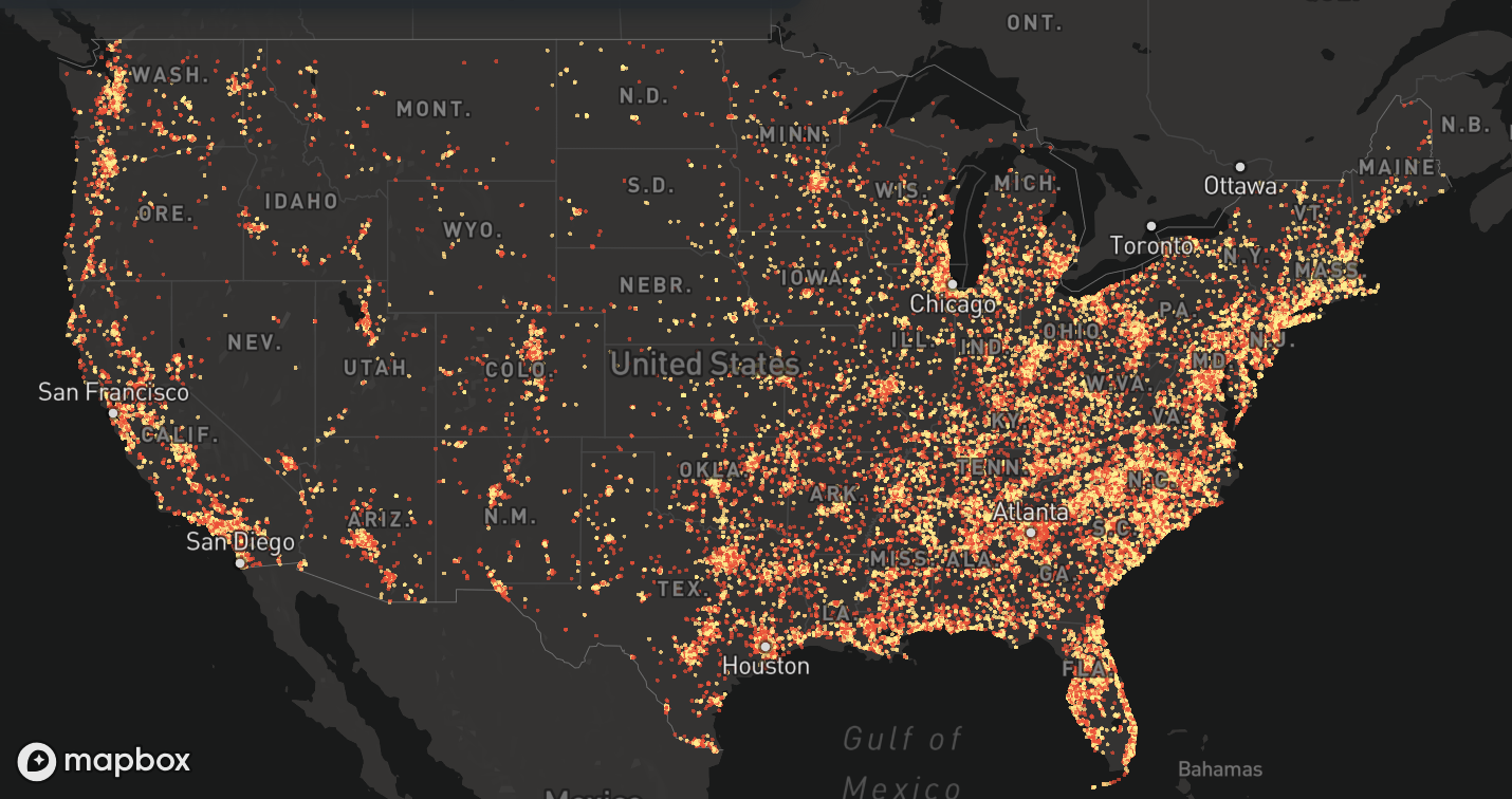 Visualizing gun violence in America - Points of interest