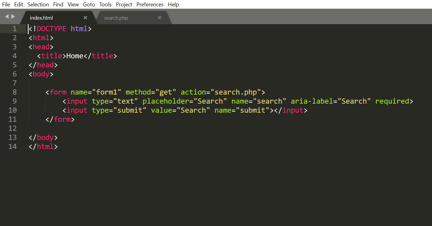 HTML code for index.html
