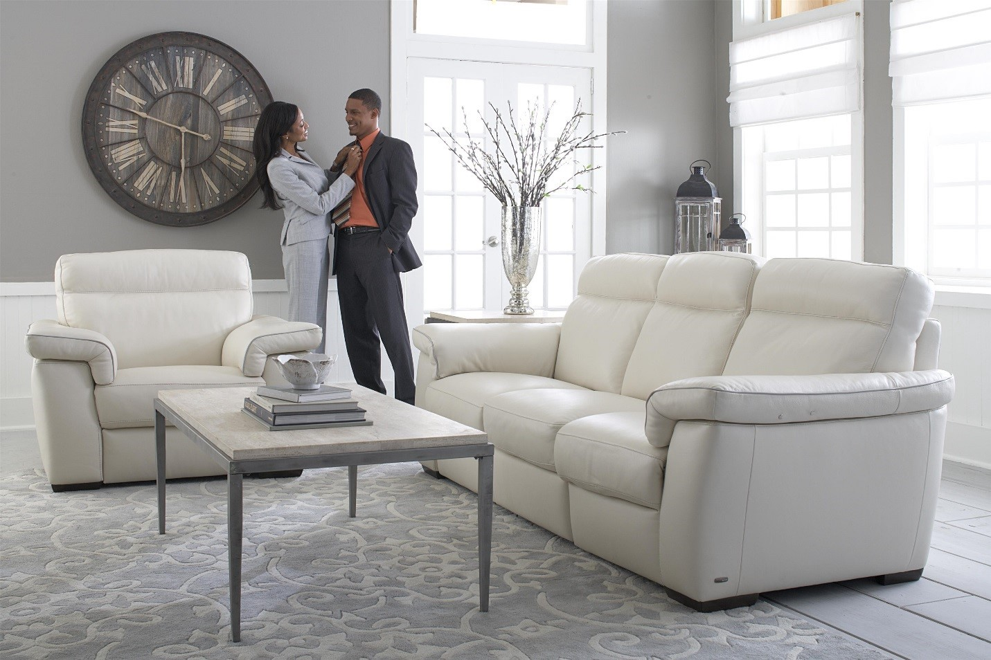 Decorate with Bright, White, Contemporary Natuzzi Leather ...