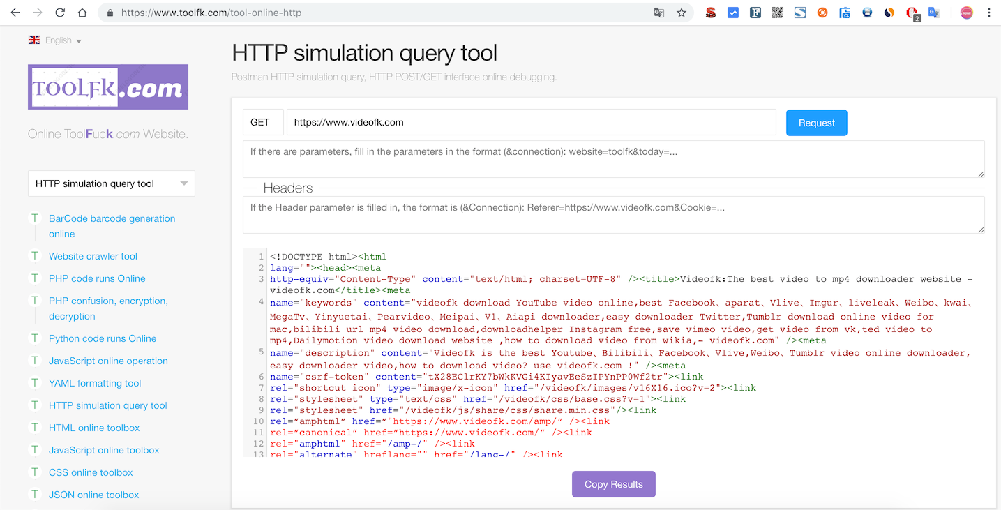 Use PHP CURL simulate HTTP requests for online tool -toolfk