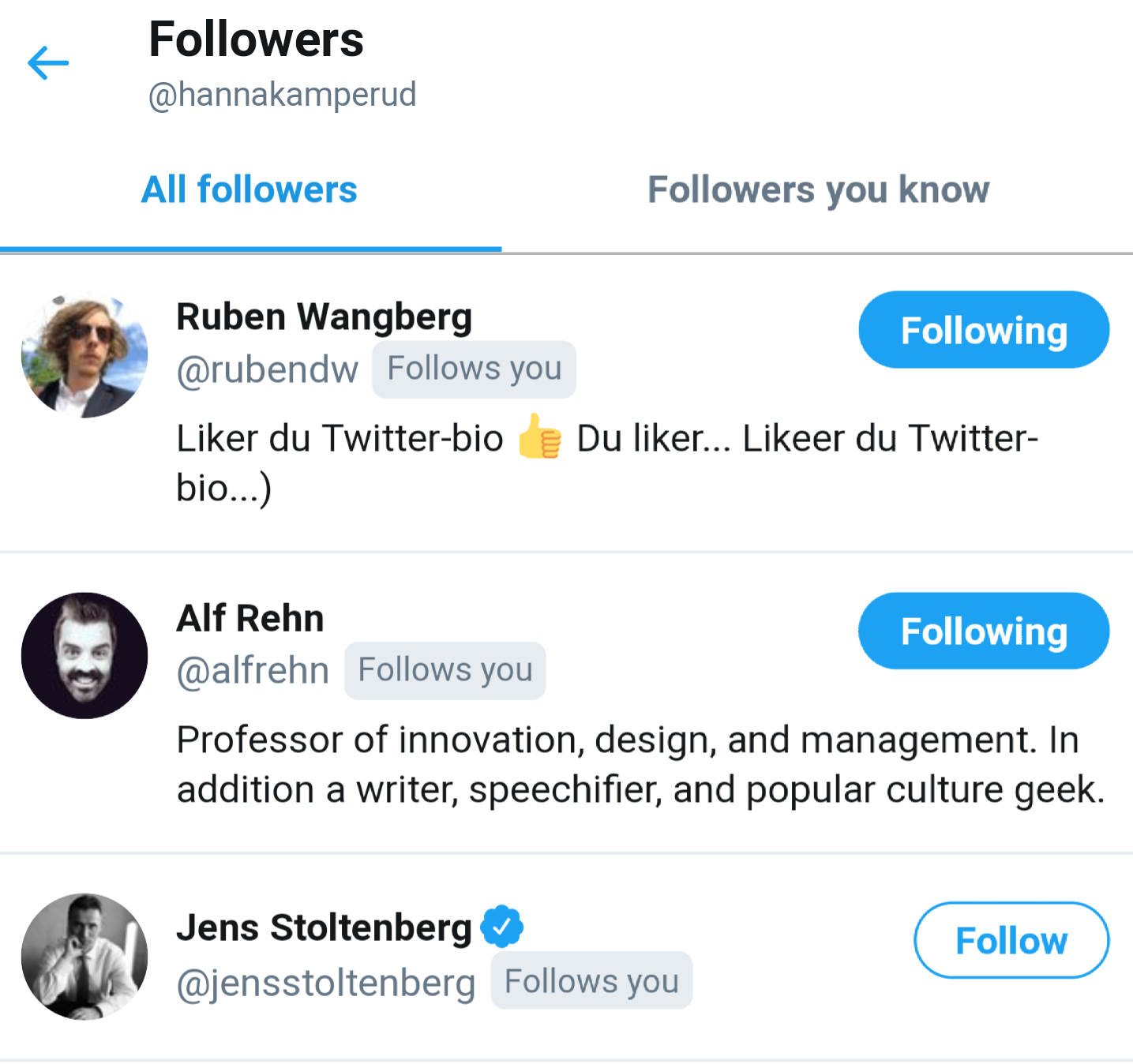 A screenshot from twitter of three followers. Ruben Wangberg, Alf Rehn and Jens Stoltenberg