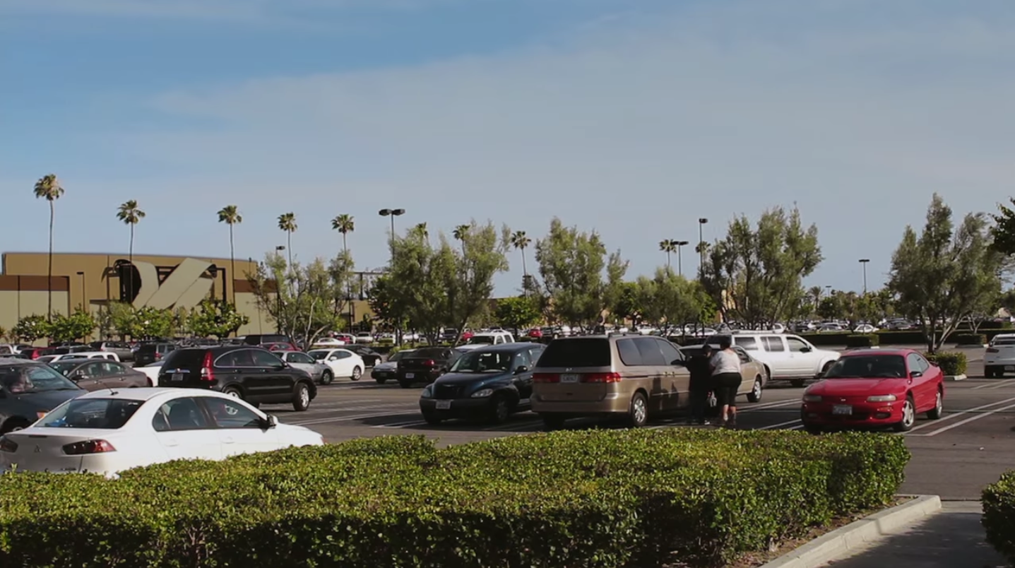 An exterior shot of a mall parking lot with palm trees in the background.