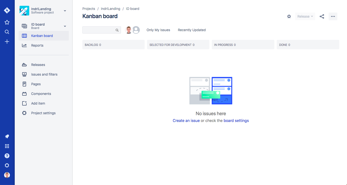Kanban board — first view you see after creating a project.