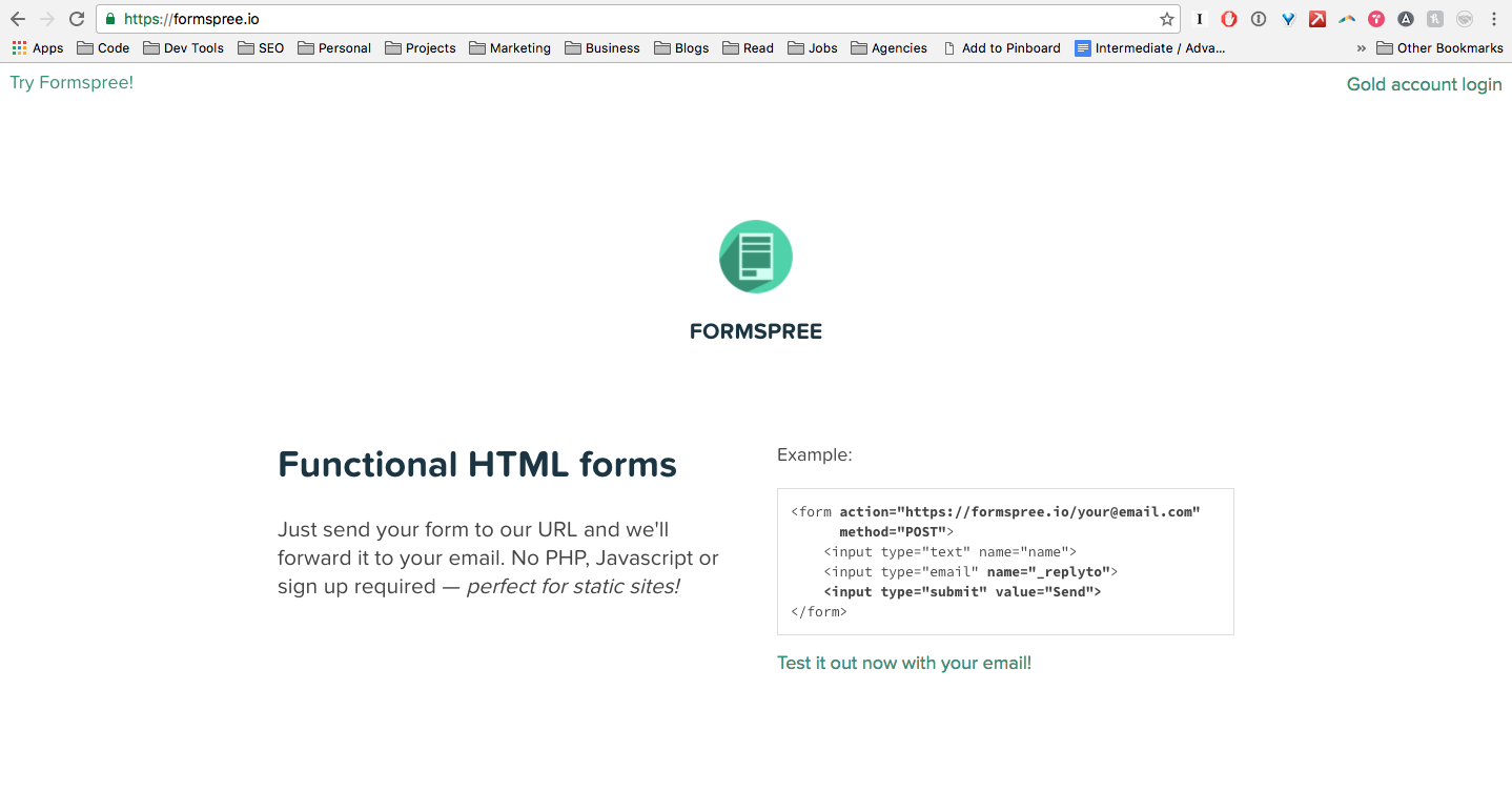 Using Formspree to integrate contact forms into your static site